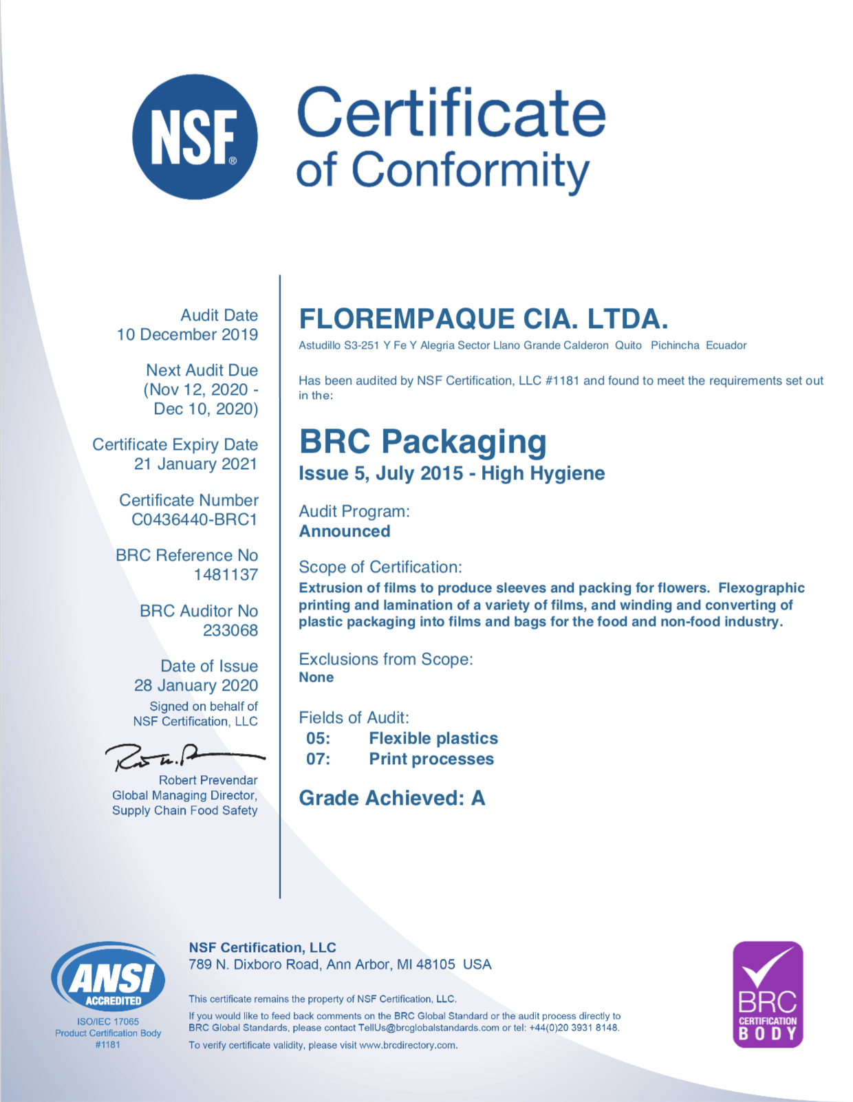 BRC for Packaging and Packaging Materials